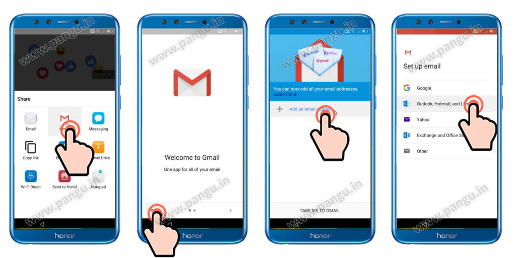 Add new Gmail Account in honor 9 lite LLD-AL10