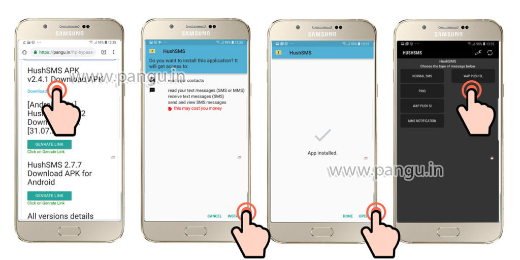 Samsung Galaxy A6 A6 Plus (2018) V8.0 Frp Lock Remove google account done install hushsms in frp locked mobile