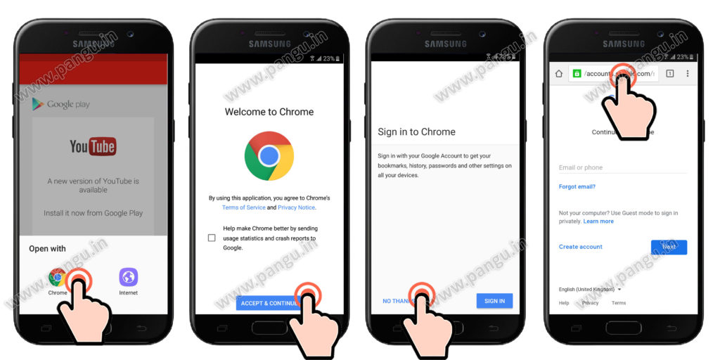 samsung galaxy j5 prime open chrome browser frp