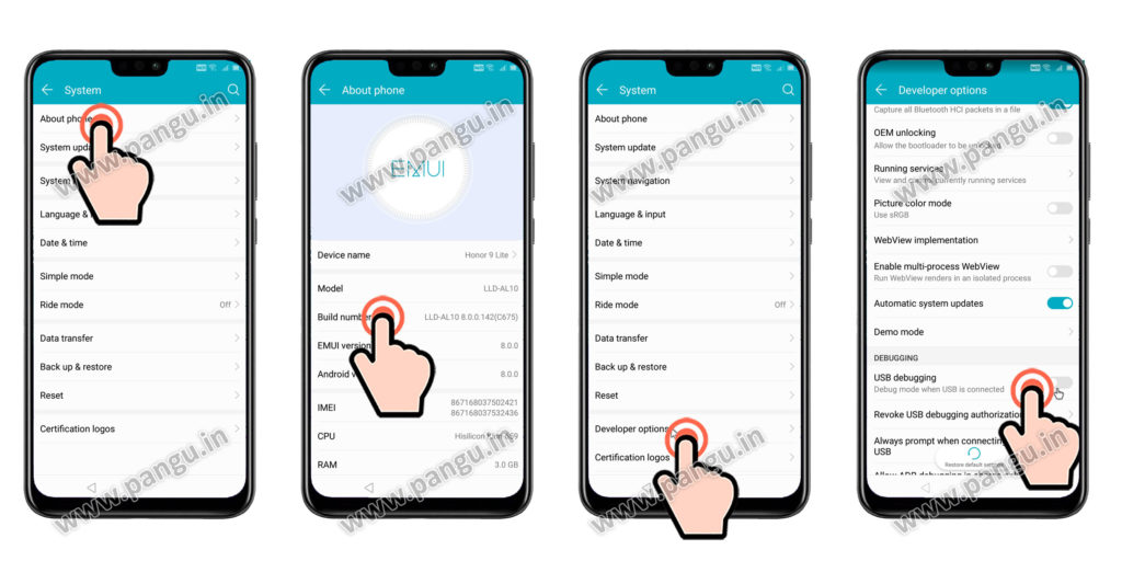 Enable developer option Huawei Honor Y9JKM-LX2
