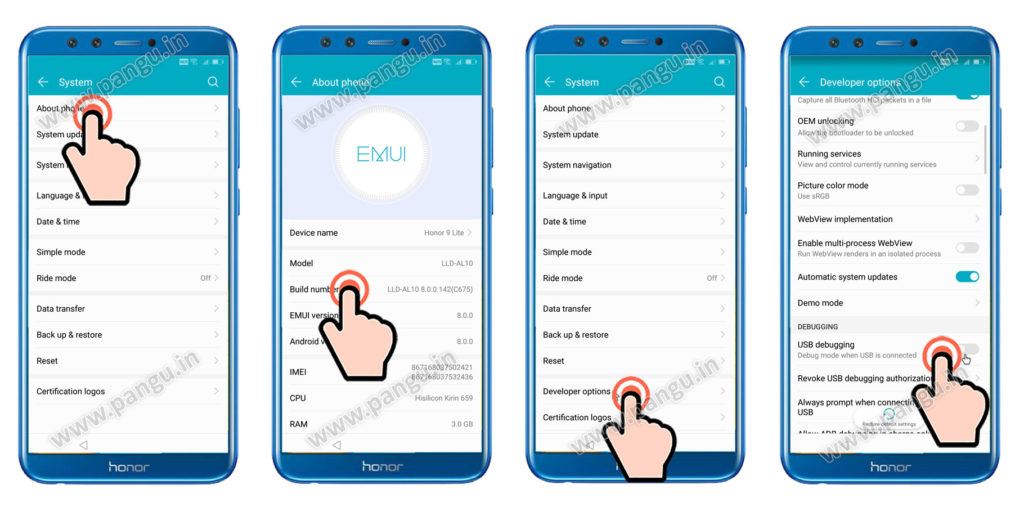 frp remove Enable developer option honor 9 lite LLD-AL10