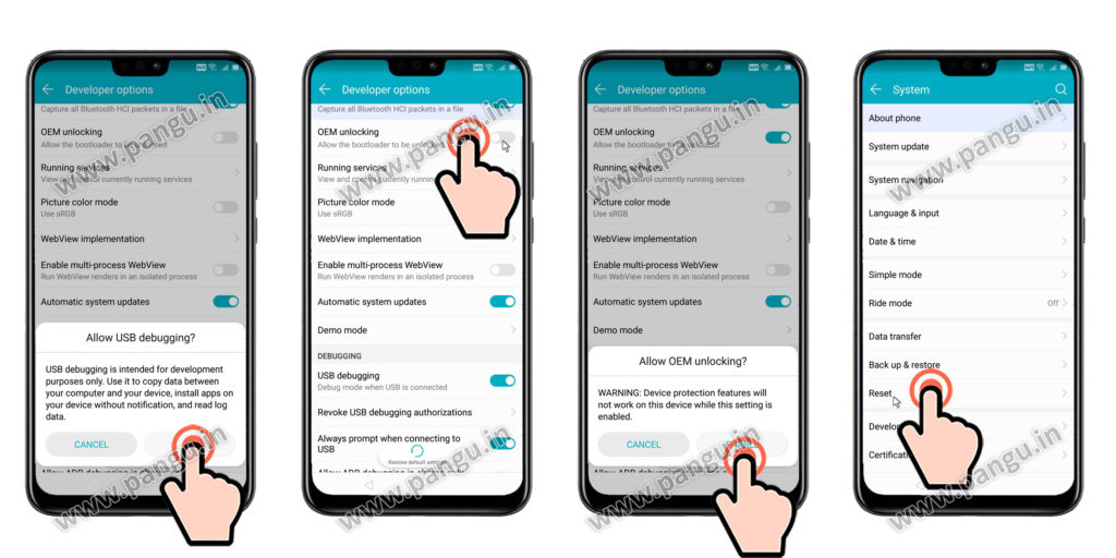Enable/Allow OEM unlocking Huawei Honor Y9JKM-LX2
