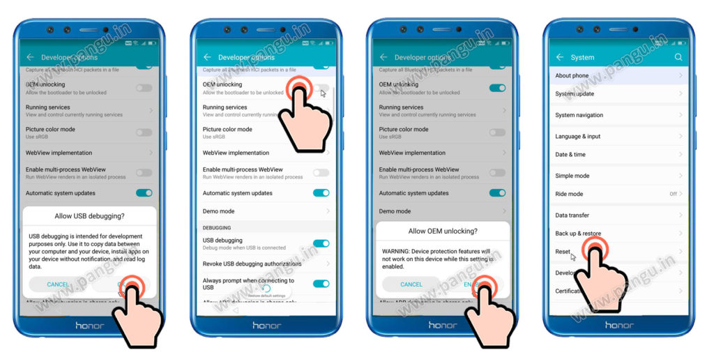 frp account remove Enable Allow OEM unlocking honor 9 lite LLD-AL10
