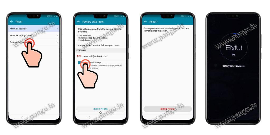 Factory reset settings Huawei Honor Y9JKM-LX2