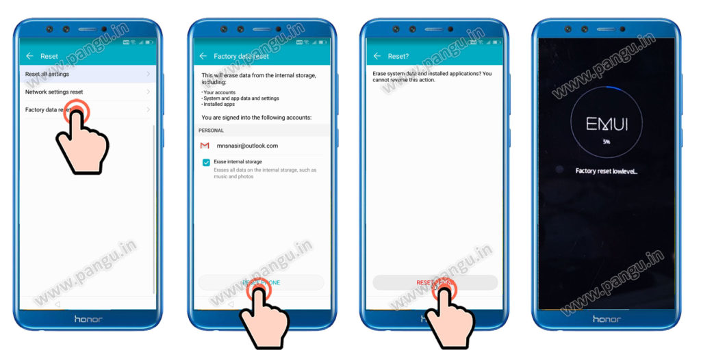 Factory reset settings Huawei Honor 9 lite LLD-AL10