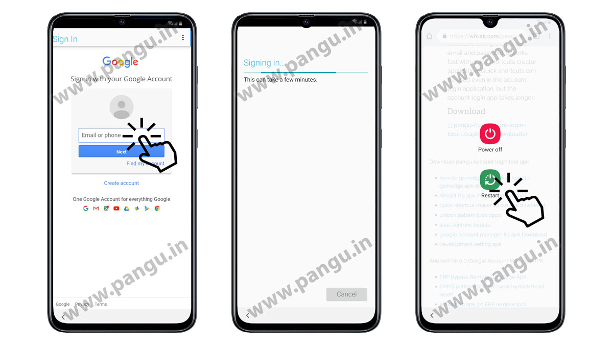 Enter your new Google account on the locked Samsung S9 SC02K